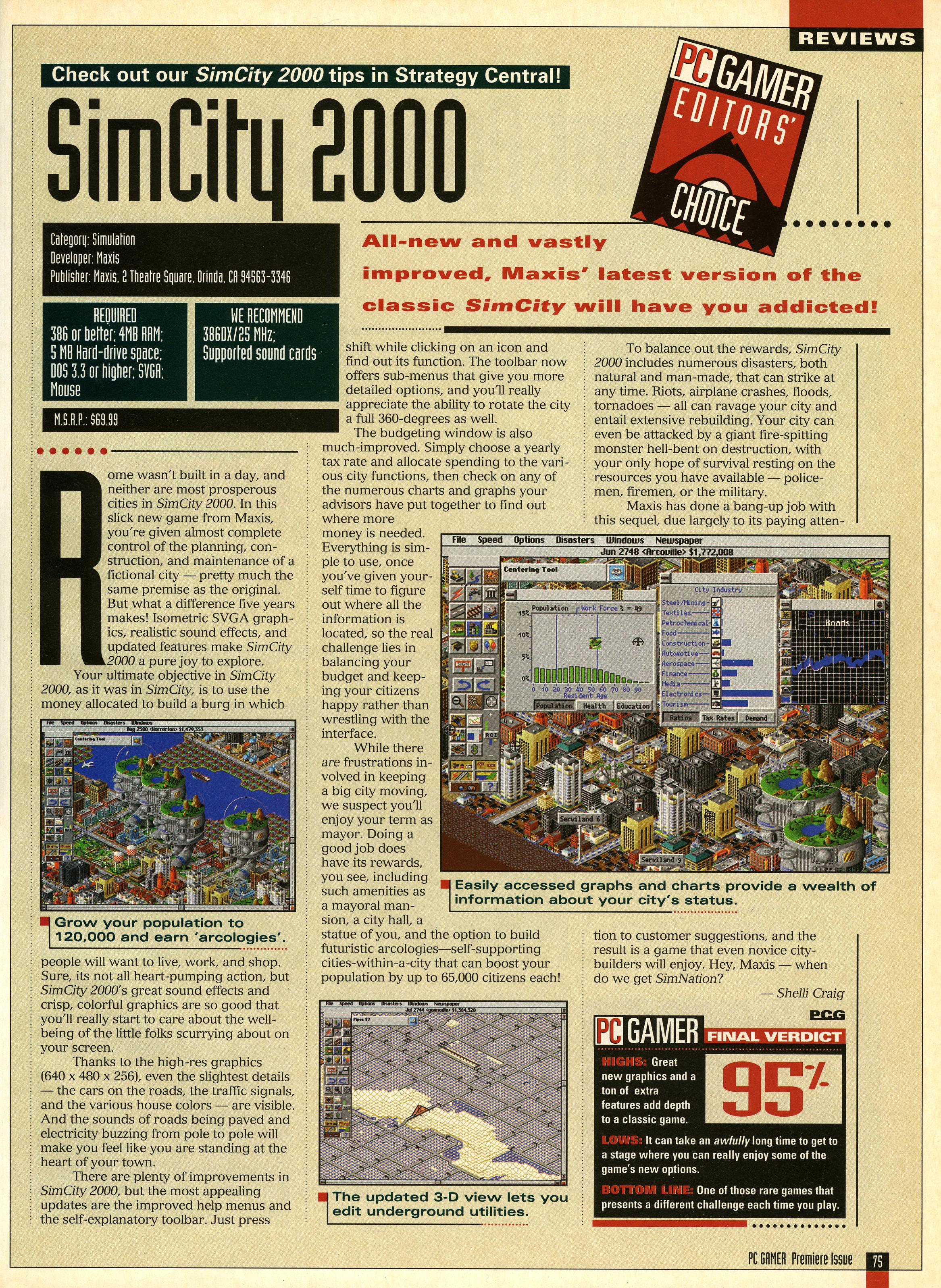 May 1994 Pc Gamer Reviews Simcity 2000 Pc Gamer
